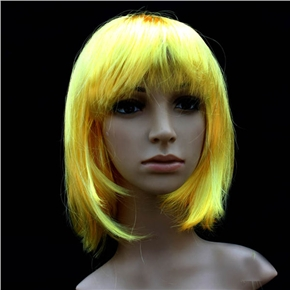 Pretty Straight Bang Cosplay Wig Hairpiece - BOBO Head (Yellow)