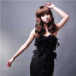 Rinka Style Curly Long Wig Hair with Charming Eyebrow Bang (Dark Brown)