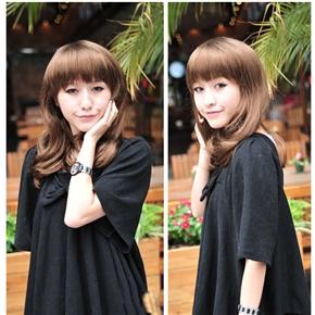 Rinka Style Curly Long Wig Hair with Neat Eyebrow Bang (Brown)