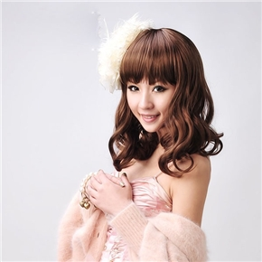 Rinka Style Curly Wig Hair with Neat Eyebrow Bang (Brown)