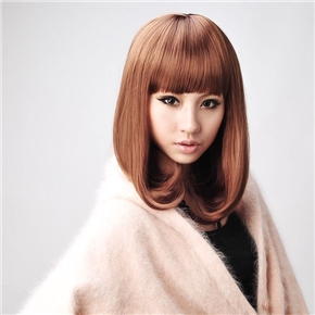 Rinka Style Straight Long Wig Hair with Neat Eyebrow Bang (Flaxen)