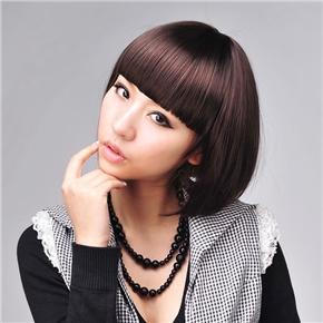 Short Straight Wig Hair Cool Bob Hair with Neat Eyebrow Bang (Dark Brown)