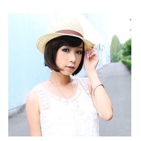 Stylish Lady Short BoBo Wig Hairstyle with Inclined Bang (Deep Brown)