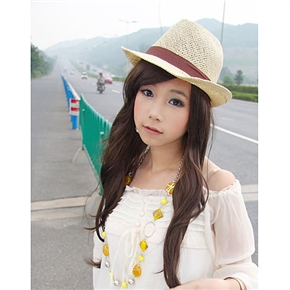 Stylish Long Curly Wig Japanese Hairstyle with Bang (Flaxen)