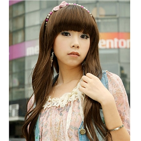 Sweet Long Curly Wig Hair with Straight Bang (Light Brown)