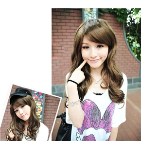 Tiny Lana Style Long Curly Wig Hair with Elegant Bang (Light Brown)