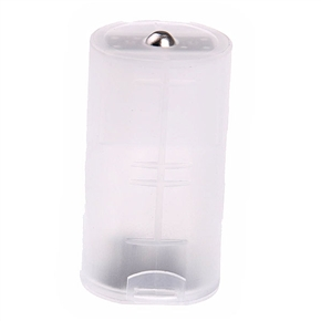 Transparent AA to D Battery Converter Case Holder Shell
