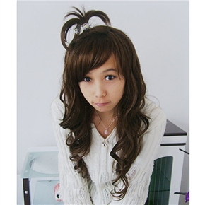 Trendy Long Curly Wig Japanese Hairstyle with Bang (Brown)