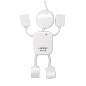 USB 2.0 High Speed 4 Ports Hub Adapter with Doll Shape for PC Laptop Notebook (White)