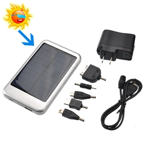 USB /Solar Powered 5000mAh Emergency Charger Portable Power Source for Cellphone Mp3 (Silver)