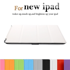 Ultra-thin Magnetic Smart PU Protective Case Cover with Sleep/Wake-up Function & Stand for iPad 2 /The new iPad (White)