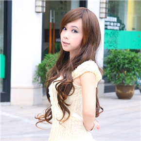 Women Long Curly Wig Curly Hairstyle with Front Bang (Light Brown)