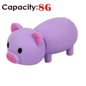 Cute Mini Cartoon Pig Shaped 8GB USB 2.0 Flash Drive Stick U-disk USB Flash Memory (Purple)
