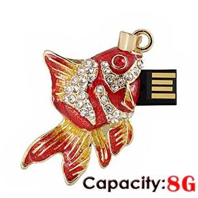 Fashion Rhinestones Decor Mini Goldfish Shaped 8GB USB 2.0 Flash Drive U-disk USB Flash Memory