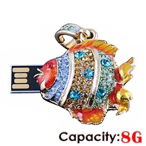 Rhinestones Decor Gorgeous Fish Shaped 8GB USB 2.0 Flash Drive U-disk USB Flash Memory