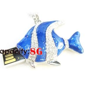 Rhinestones Decor Triangle Fish Shaped 8GB Metal USB 2.0 Flash Drive U-disk USB Flash Memory (Blue)
