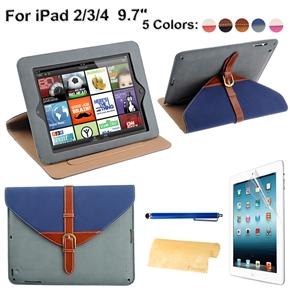 4-in-1 Detachable 360-degree Rotating Stand Smart PU Flip Case Set for iPad 4 /iPad 3 /iPad 2 (Dark Blue+Grey)