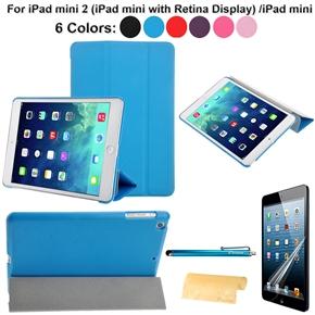4-in-1 Cross Pattern Folding Smart PU Cover Set for iPad mini 2 (iPad mini with Retina Display) /iPad mini (Sky-blue)