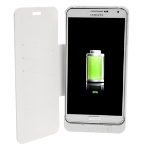 4200mAh Mobile Power Backup Battery PU Flip Case with Stand & Card Holders for Samsung Galaxy Note III /N9000 (White)