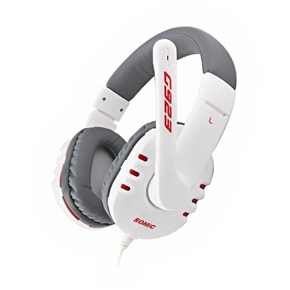 SOMiC G923 Head-band Type 3.5mm-jack Stereo Gaming Headset Headphone with Microphone (White)