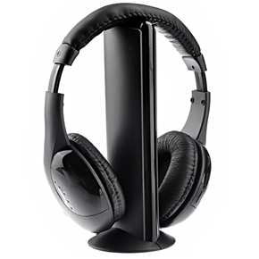 MH2001 5-in-1 Hi-Fi S-XBS Wireless Headphone with FM Radio & Wireless Monitoring for TV /PC /MP3 /CD /DVD (Black)