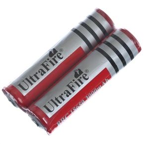 UltraFire 18650 3.7V 3000mAh IC Protected Rechargeable Li-ion Battery - One Pair (Red)