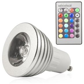 Portable GU10 85V-265V 3W 16-Color Changing IR Remote Control RGB LED Light Lamp Bulb