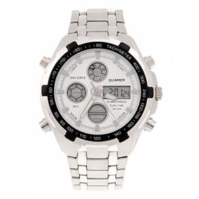 Quamer B-205G Dual-time Men LED Digital Quartz Wrist Watch with Alarm /Calendar /Stopwatch /Stainless Steel Band (White)