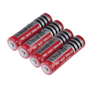 4pcs UltraFire 18650 3.7V 3000mAh IC Protected Rechargeable Li-ion Batteries (Red)