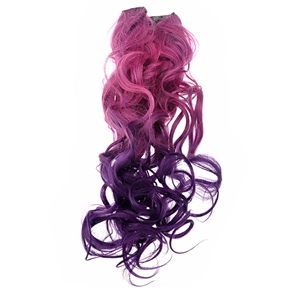 Cool One-piece 2-Color Gradient Long Curly Wavy Clip-on Magic Wig Synthetic Hair Hairpiece (Rosy+Dark Purple)