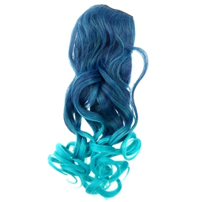Cool One-piece 2-Color Gradient Long Curly Wavy Clip-on Magic Wig Synthetic Hairpiece (Lake Blue+Peacock Blue)