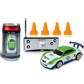 No.2010B-2 1:58 Scale 35MHz Mini RC Radio Remote Control Racing Car Packaged in a Coke Can (White+Green)
