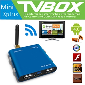Mini Xplus Allwinner A10 1.2GHz 1GB/8GB Android 4.0 Smart TV Box with WiFi /AV-out /HDMI /Remote Controller (Blue)