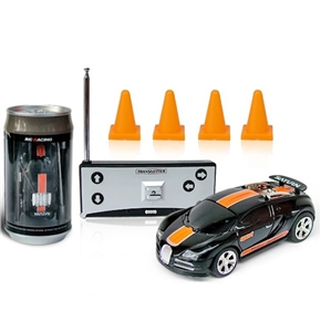 No.2010B-1 1:58 Scale 49MHz Mini RC Radio Remote Control Racing Car Packaged in a Coke Can (Black+Orange)