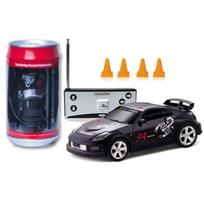 No.2010B-8 1:58 Scale 27MHz Mini RC Radio Remote Control Racing Car Packaged in a Coke Can (Black)