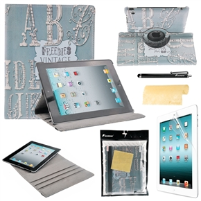 4-in-1 Vintage Pattern Style 360-degree Rotating Stand Smart PU Flip Case Cover Set for iPad 4 /iPad 3 /iPad 2