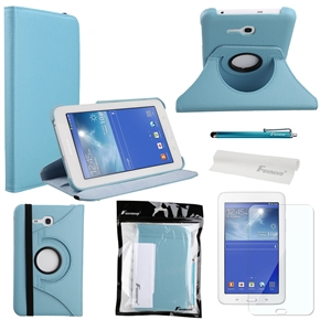 4-in-1 360-degree Rotating Stand PU Flip Case Cover Set for Samsung Galaxy Tab 3 Lite 7.0 T110 /T111 (Sky-blue)