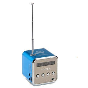 TD-V26 Portable Mini Digital Speaker Music Player with FM Radio /TF Slot /USB /LED Light for Cellphone /PC /MP3 (Blue)