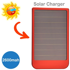 2600mAh Solar Power Emergency Charger for iPhone Camera MP3 MP4 PDA (Red)