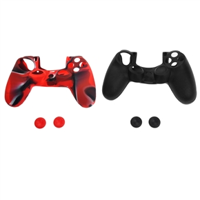 2 Sets of Replacement Soft Silicone Protective Skin Case Covers & Joystick Thumbstick Caps for Sony PlayStation 4 /PS4 Controller (Black & Red)