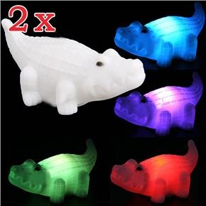 Lovely Crocodile Shape Design Color Changing LED Desktop Small Night Light (White) - 2 pcs/set