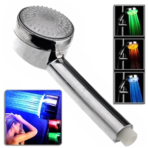 Novelty Temperature Control 3-Colors Changing LED Bath Shower Head Shower Nozzle (Silver)