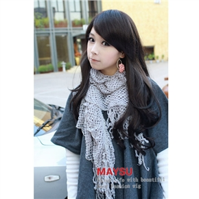 Stylish Lady Long Slightly Curly Wig Hair with Inclined Bang (Black)