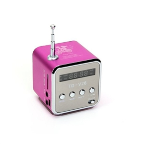 TD-V26 Portable Mini Digital Speaker Music Player with FM Radio /TF Slot /USB /LED Light for Cellphone /PC /MP3 (Rosy)
