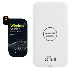 Qifull QT10 Qi Wireless Charger & Receiver Set for Samsung Galaxy S5 /i9600 (White)