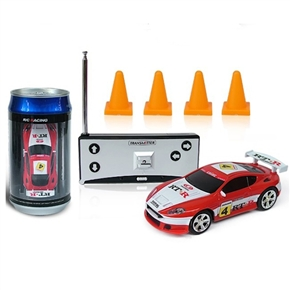 No.2010B-4 1:58 Scale 27MHz Mini RC Radio Remote Control Racing Car Packaged in a Coke Can (White+Red)