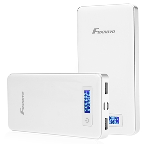 Foxnovo FP20 20000mAh Lithium Polymer LCD Display Dual 2.5A USB Output Power Bank Battery Charger for iPhone iPad Samsung Galaxy S5/S4/Note 4/Note 3(White)