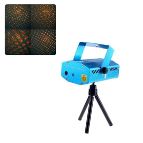 Mini Red & Green Laser Light Moving DJ Disco Party Laser Stage Light Projector with Tripod & EU-plug Power Adapter (Blue)