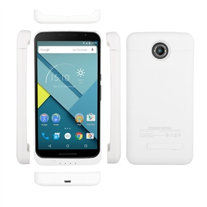 4200mAh Mobile Power Bank Backup Battery Back Case with Stand for Google Nexus 6 (White)
