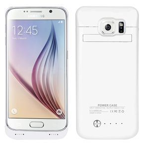 4200mAh Mobile Power Bank Backup Battery Back Case with Stand for Samsung Galaxy S6 (White)